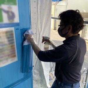 接触部分の除菌作業2
